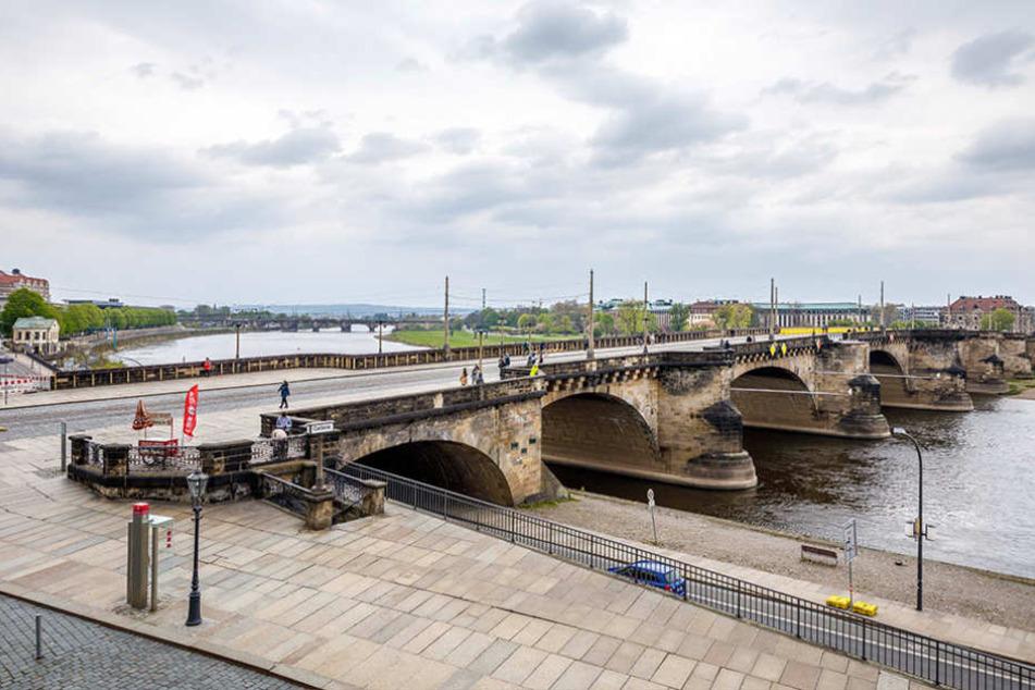 Die Container dienen als Planungsbüros für die Sanierung der nahen  Augustusbrücke.