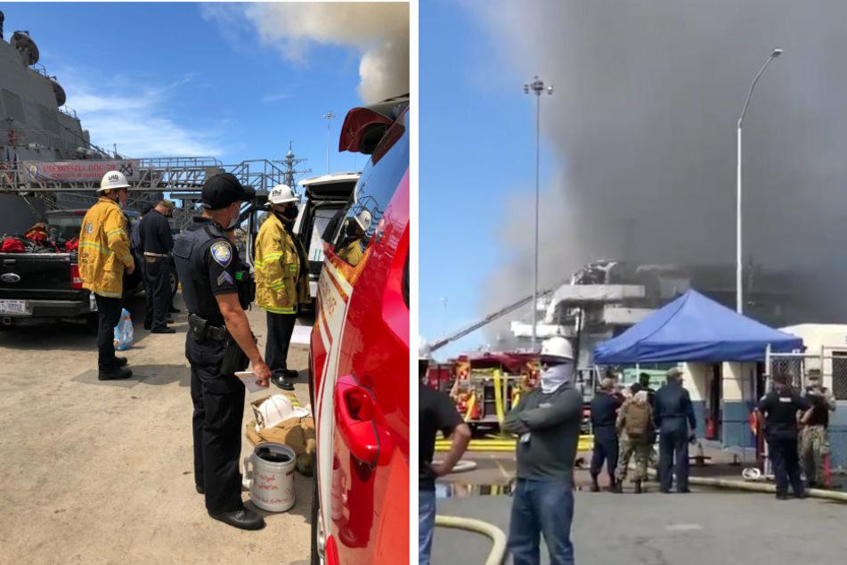 US-Kriegsschiff steht in Flammen: Mehrere Soldaten verletzt