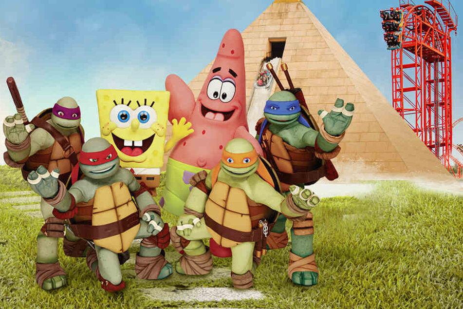 Die Nickelodeon Stars wie Spongebob, Patrick und die Ninja Turtles begrüßen nun auch die Gäste im Freizeitpark Belantis.