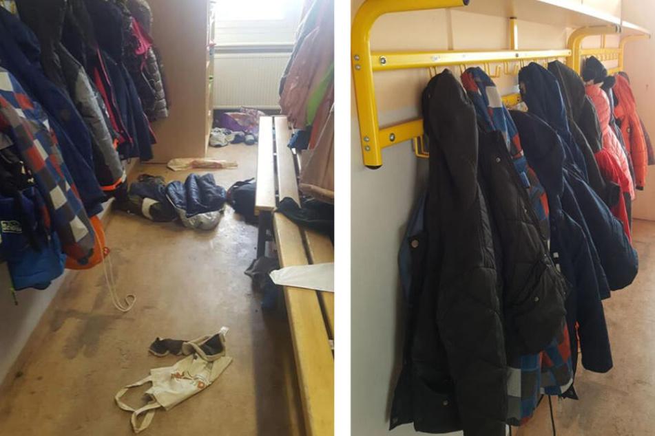 Vorher-Nachher-Vergleich: Während im November noch Chaos in der Garderobe der 2. Klasse herrschte, kehrte unter anderem durch Namen an den Kleiderhaken Ordnung ein.