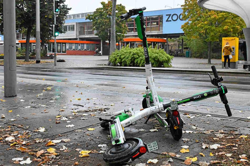 Achtlos abgestellte oder gar umgeworfene Roller finden sich in der ganzen Stadt, so auch am Zoo.