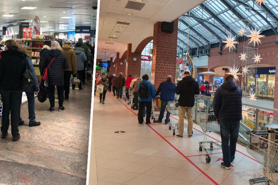 Mega-Andrang in Dresden und Chemnitz! Vor vielen Geschäften bildeten sich am Mittwoch meterlange Warteschlangen.