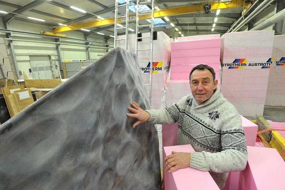 Geschäftsführer Matthias Pfalz (62) plant in den Werkhallen von Fiber-Tech  schon die nächsten spektakulären Projekte.