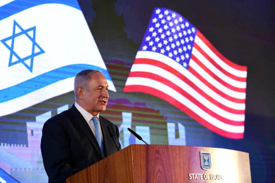 """Sprach vor der Botschaftseröffnung von einem """"bewegenden Tag für das Volk Israel und den Staat Israel"""": Benjamin Netanjahu."""