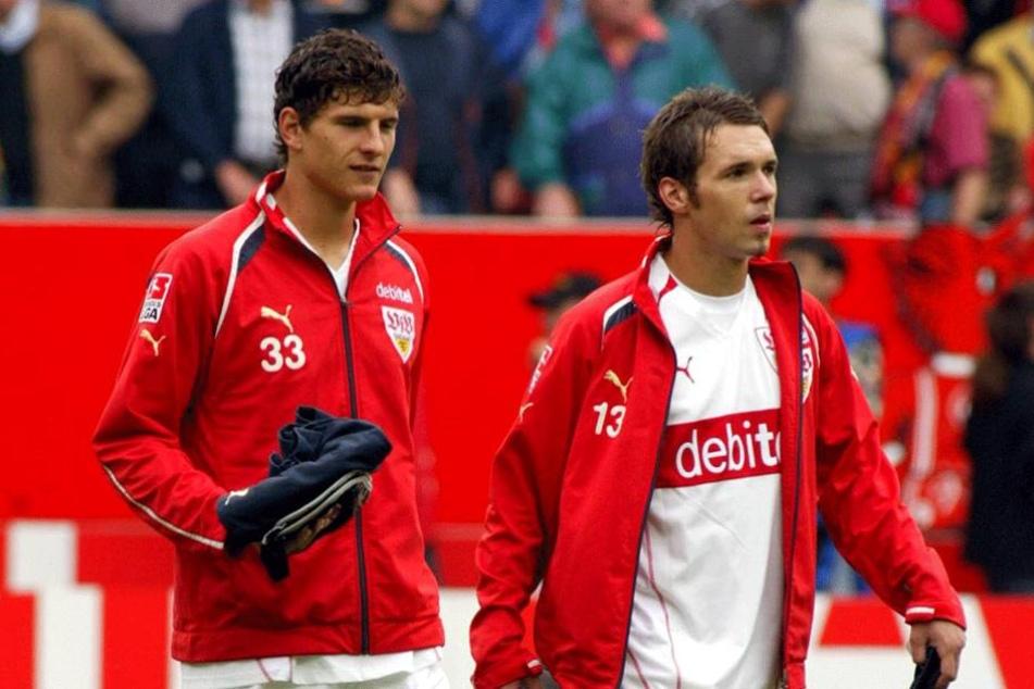 Ein Bild aus gemeinsamen Zeiten beim VfB Stuttgart. Tiffert (re.) und Mario Gomez.