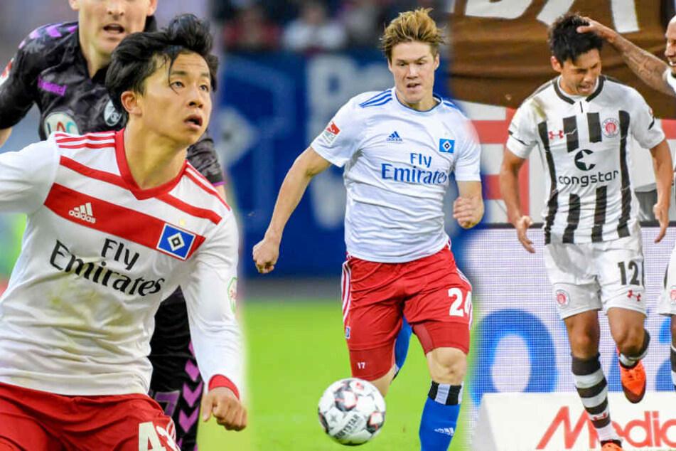 Tatsuay Ito (l) und Gotoku Sakai (M) spielen für den HSV. Ryu Miyaichi (r) steht beim FC St. Pauli unter Vertrag.