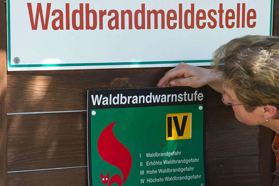 Waldbrandgefahr erreicht in Brandenburg aktuellste Höchstwarnstufen. Hinweistafel warnen die Besucher vor der ausgehenden Gefahr und hoffen auf Umsichtigkeit und Vorsicht.