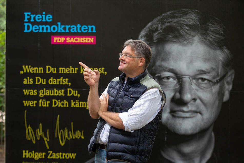 Zastrow und Zastrow: Sachsens FDP-Chef (50) vor seinem Wahlkampfplakat.