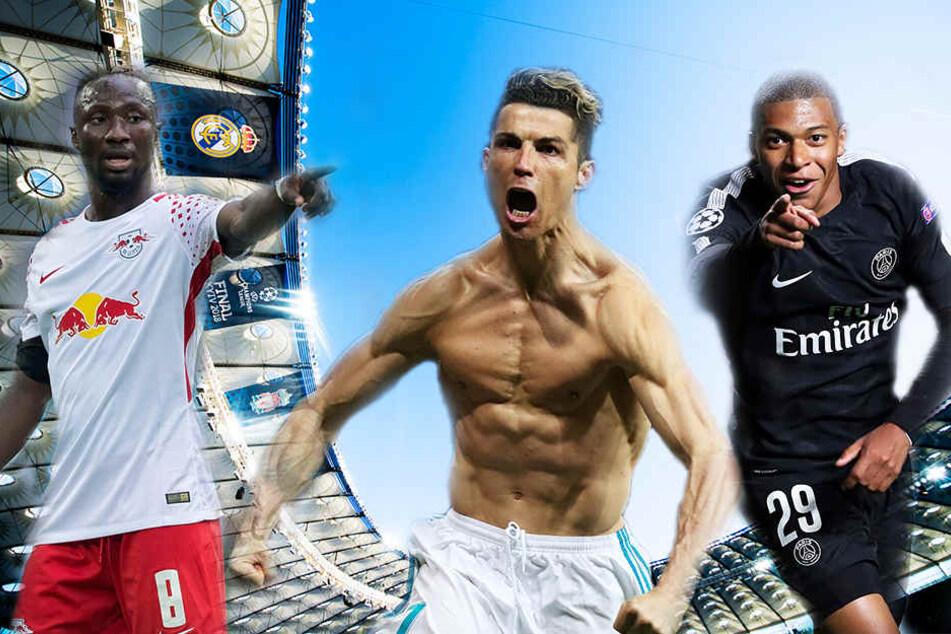 Naby Keita (links; gut 60 Millionen Euro), Cristiano Ronaldo (Mitte; ca. 120 Millionen Euro) und Kylian Mbappé (rechts; 180 Millionen Euro) wechselten für viel Geld den Verein.