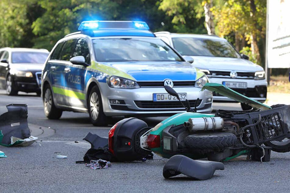 Dresden: Roller-Fahrer landet nach Crash auf Strehlener Straße im Krankenhaus