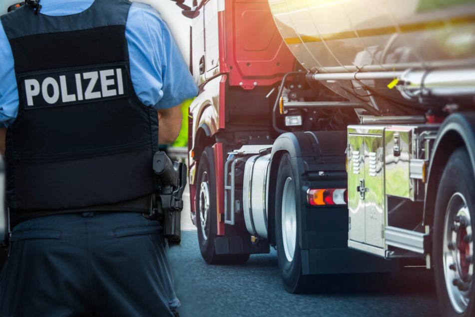 Fotomontage: Mit einem Sprung über die Mittelleitplanke rettete sich der 41-jährige Polizist in letzter Not (Symbolbild).