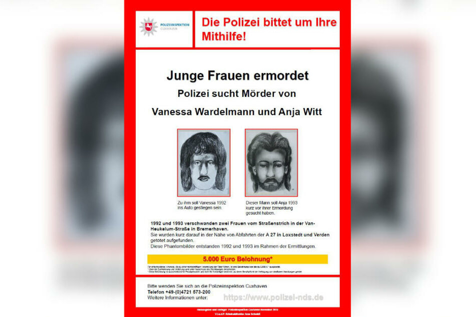 Mit diesem Plakat sucht die Polizei nun nach neuen Spuren in den Mordfällen.