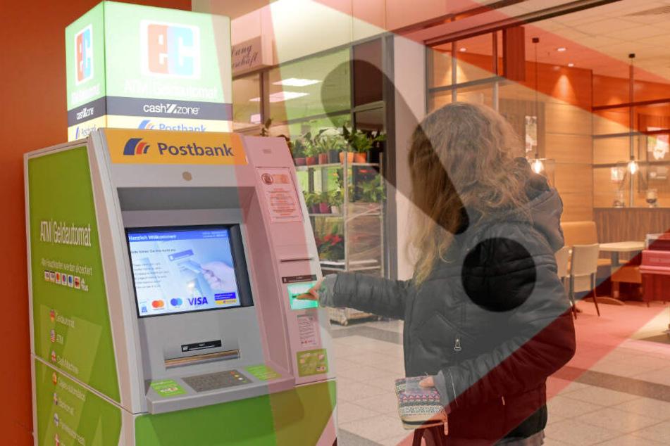 Aufgepasst: Wer nicht Kunde der Postbank ist, zahlt an solchen Automaten wie Denise F. hier im Prohliszentrum Gebühren fürs Geldabheben.