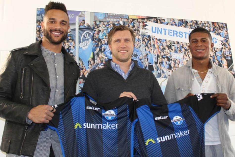 Khiry Shelton (l.) und Mohammed Kamara (r.) mit Geschäftsführer Sport Markus Krösche.