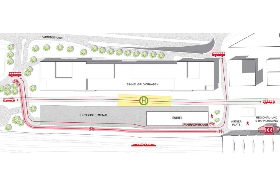 Am neuen Fernbus-Bahnhof kann man künftig bequem in den ÖPNV, die Züge der Deutschen Bahn im Hauptbahnhof oder auf das Fahrrad umsteigen.