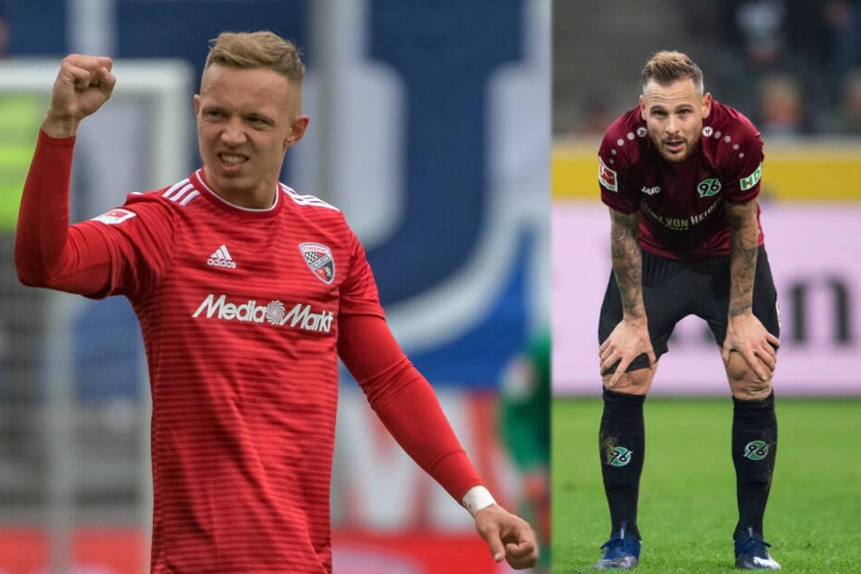 Sonny Kittel (links) stieg mit dem FC Ingolstadt aus der 2. Liga ab, Marvin Bakalorz mit Hannover 96 aus der Bundesliga. Beide sollen den HSV in der kommenden Saison verstärken.