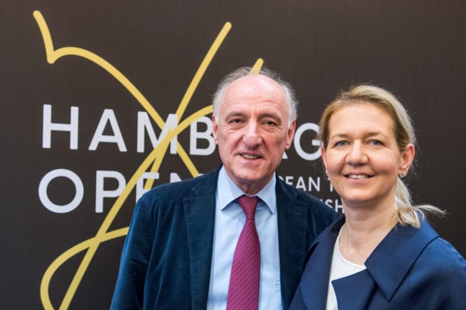 Veranstalter Peter-Michael Reichel und seine Tochter Sandra stellten im Februar die Pläne zur Tennis-EM in Hamburg vor.