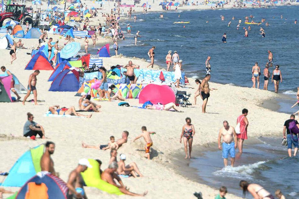 Die sommerlichen Temperaturen genießen zahlreiche Strandbesucher an der Ostsee.