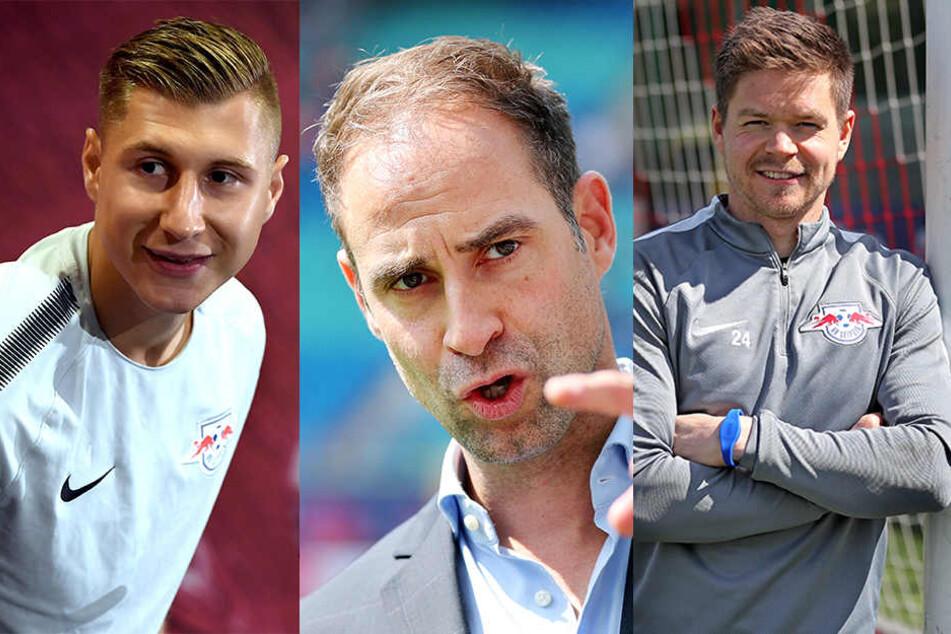 Willi Orban, Oliver Mintzlaff und Dominik Kaiser (v.l.n.r.) reagieren mit gemischten Gefühlen auf die CL-Auslosung am Donnerstag.