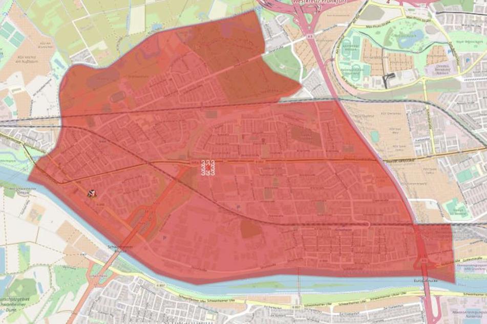 Auf dieser Karte ist der betroffenen Bereich rot gekennzeichnet.
