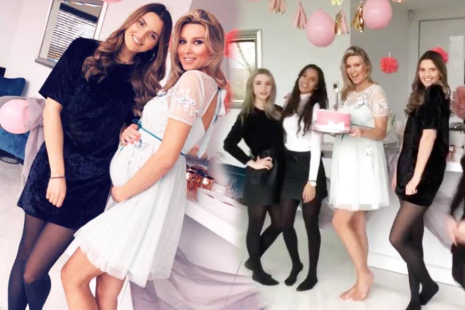 Gemeinsam mit ihren Mädels feierte Katja Kühne (33) eine rosa-weiße Baby-Party.