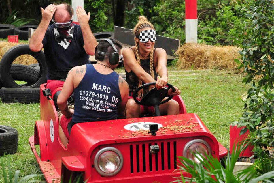 Im Dschungel-Cabrio: Markus Majowski, Sarah Joelle Jahnel und Marc Terenzi (vorn).