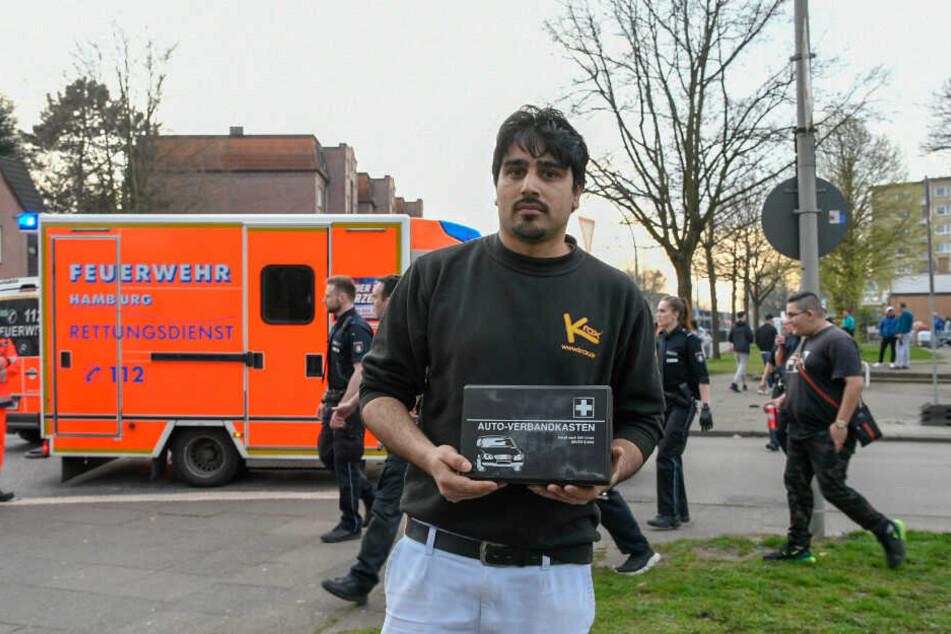 Mit diesem Verbandskasten aus seinem Auto leistete der Pizza-Lieferant Erste Hilfe.