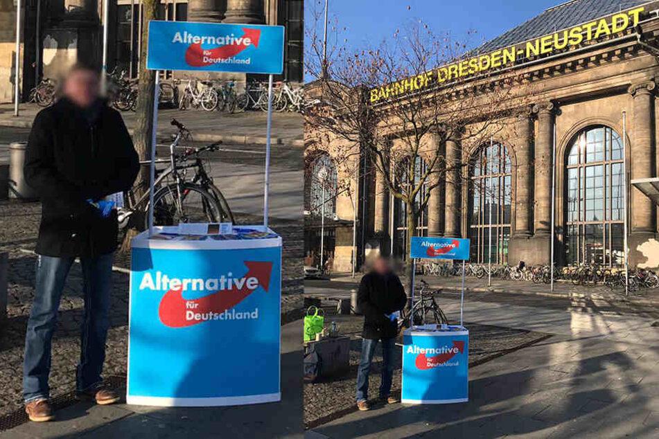 Der Stand der AfD vor dem Bahnhof Neustadt.
