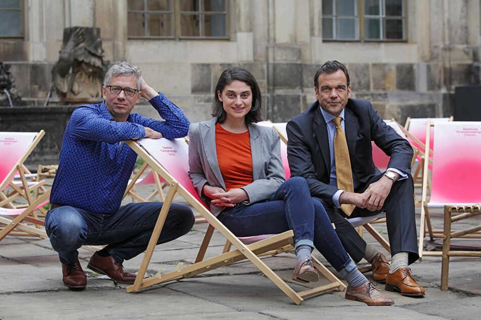 Jörg Polenz, Noura Dirani und Christoph Gröner (v.l.) stellten gestern das Programm für den kommenden Palais Sommer vor.
