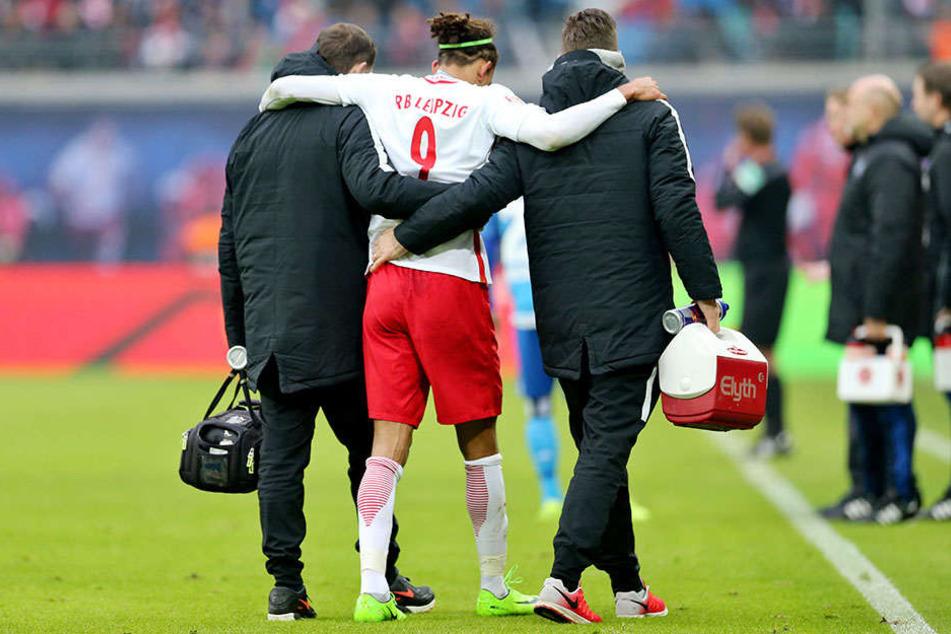 Auch Yussuf Poulsen verletzte sich während der Saison: Beim Spiel gegen den Hamburger SV zog er sich einen Muskelbündelriss zu.