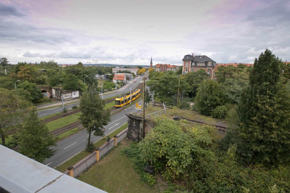 Zwischen dem Alten Leipziger Bahnhof und dem Neustädter Bahnhof befindet sich ein alter Gleisbogen. Das Areal soll künftig bebaut werden.
