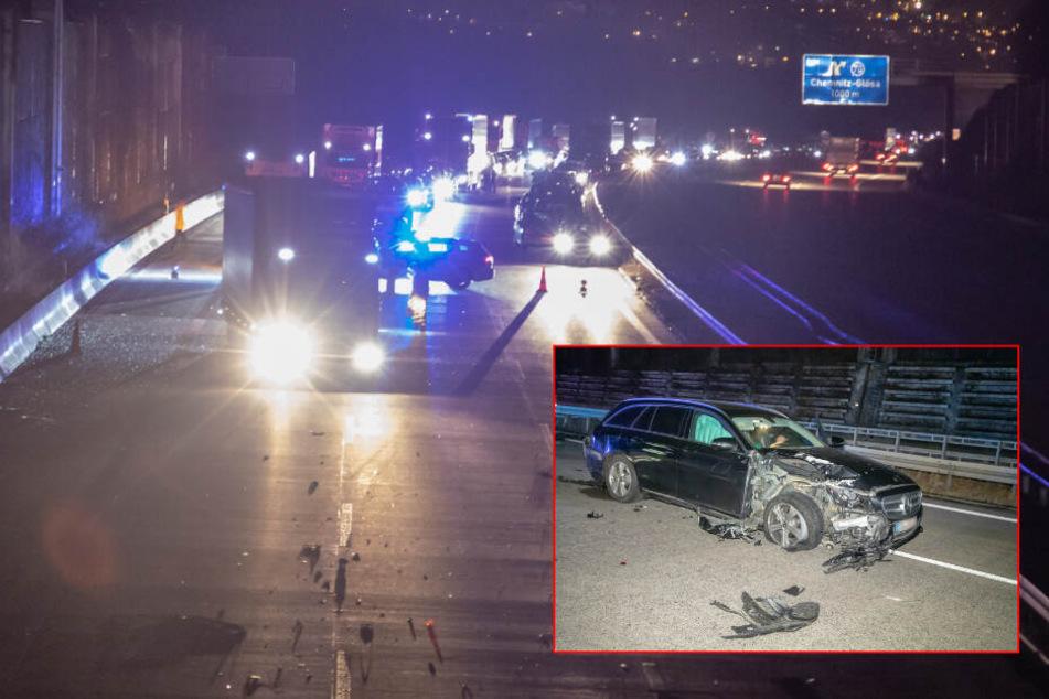 A4 gesperrt! Heftiger Crash bei Chemnitz