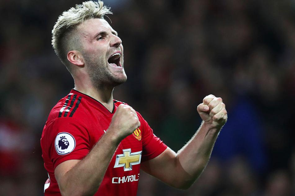 Welch eine Erlösung: Am ersten Spieltag der laufenden Saison traf Luke Shaw von Manchester United zum vorentscheidenden 2:0 gegen Leicester City (Endstand 2:1).