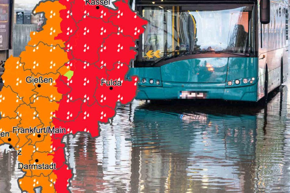 Fotomontage: Baden könnte man aktuell höchstens in den regenüberfluteten Straßen Hessens (Symbolbild).