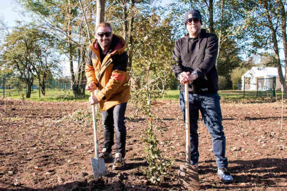 """Sasha (links) und Smudo stehen im """"Fame Forest"""" an einem zuvor gepflanzten Baum."""