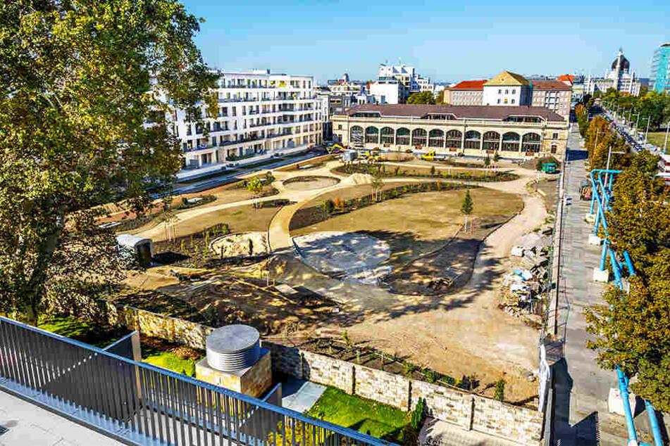Der neue Herzogin Garten: Im Hintergrund die aufgebaute Orangerie, links der Neubau (Wohnungen), im Vordergrund der neu angelegte Garten.