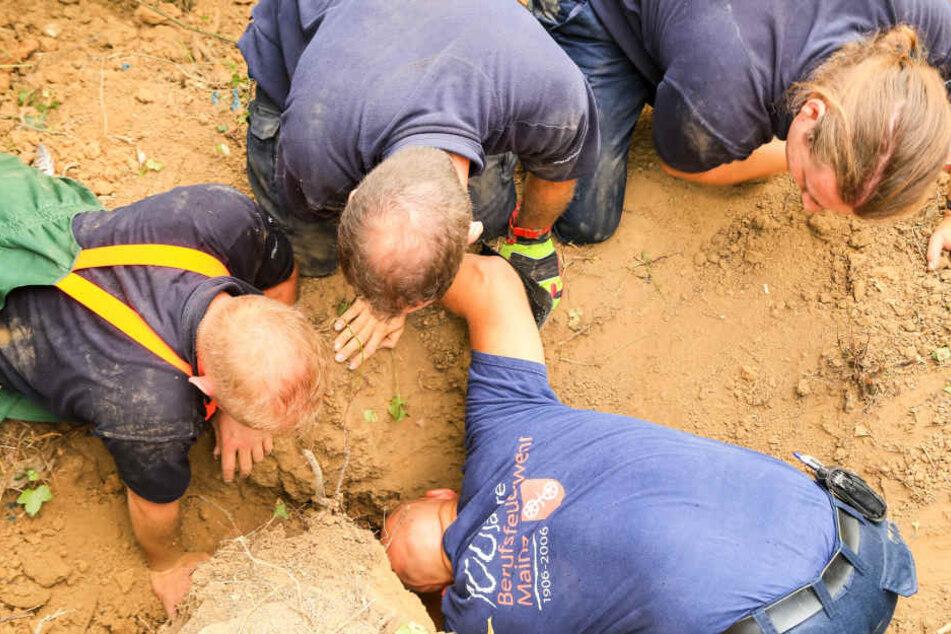 Mit Feuereifer gruben die Feuerwehrleute nach dem kleinen Vierbeiner.