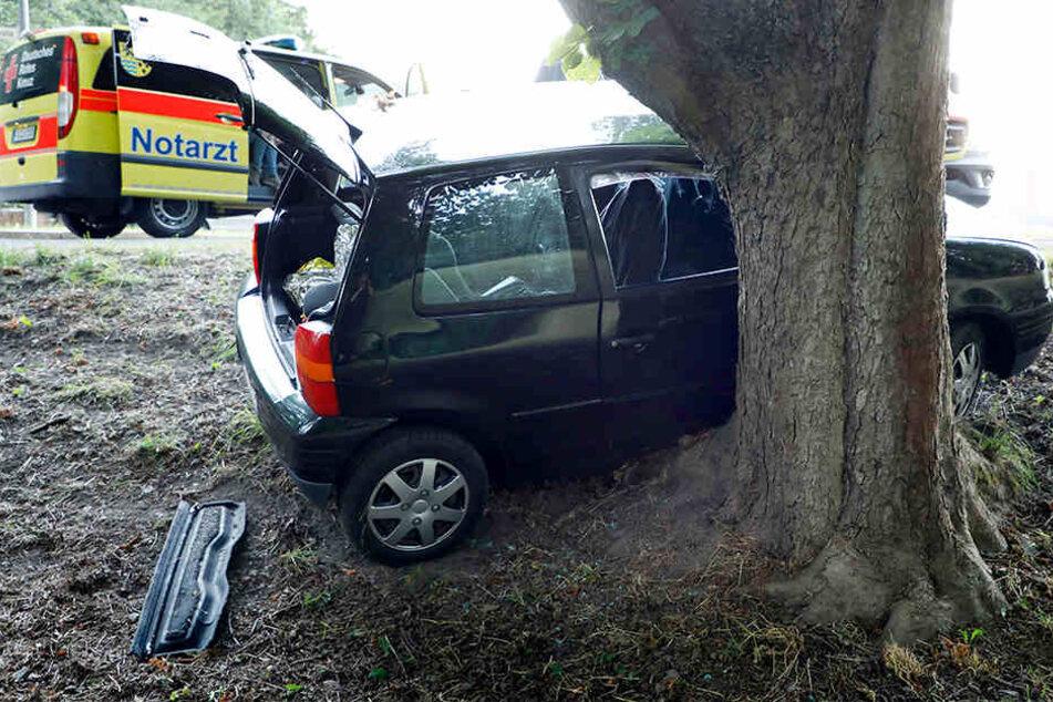 Der Seat war von der Fahrbahn abgekommen und gegen einen Baum geknallt.