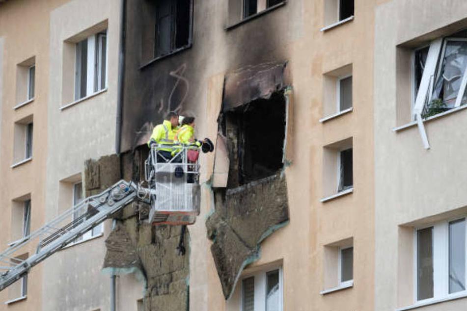 Das Mehrfamilienhaus wurde bei der Explosion im Oktober schwer beschädigt.