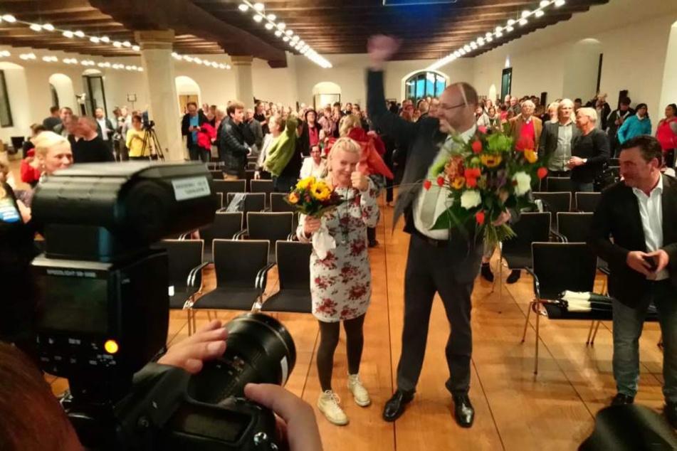 Olaf Raschke bejubelt seinen Sieg.