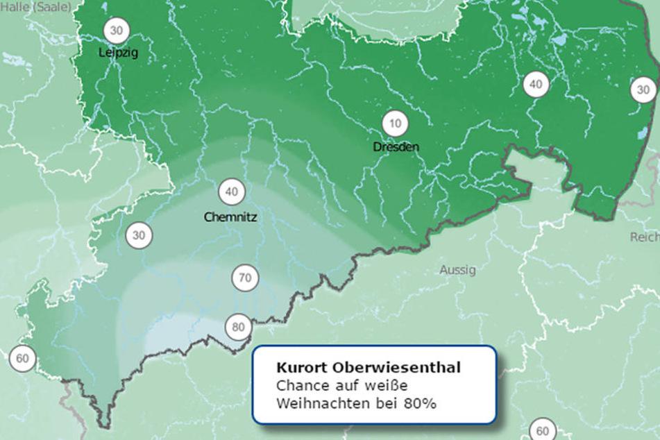 In Oberwiesenthal liegt die Chance auf weiße Weihnachten bei 80 Prozent.