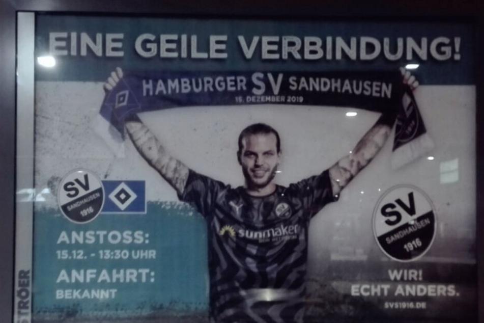 """Mit diesem Plakat wirbt der SV Sandhausen am Hamburger Hauptbahnhof auf """"eine geile Verbindung"""" zwischen den Vereinen hin."""