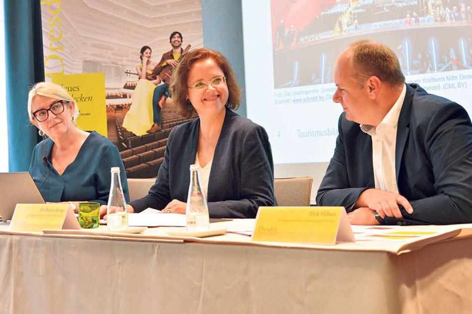 Tourismus-Chefin Bettina Bunge (49) und OB Dirk Hilbert (45, FDP) freuen sich  über die neuen Tourismus-Zahlen.