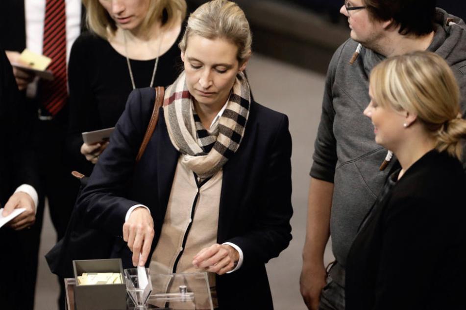 Fraktionsvorsitzende der AfD Alice Weidel bei einer Stimmabgabe im Bundestag.
