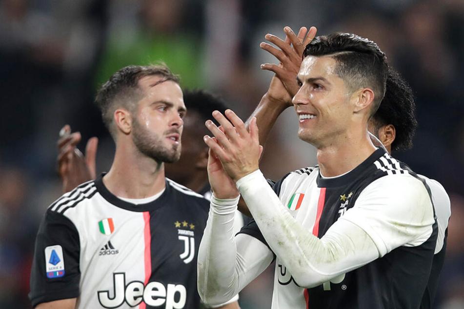 """Die beiden Torschützen der """"Alten Dame"""": Miralem Pjanic und Cristiano Ronaldo."""