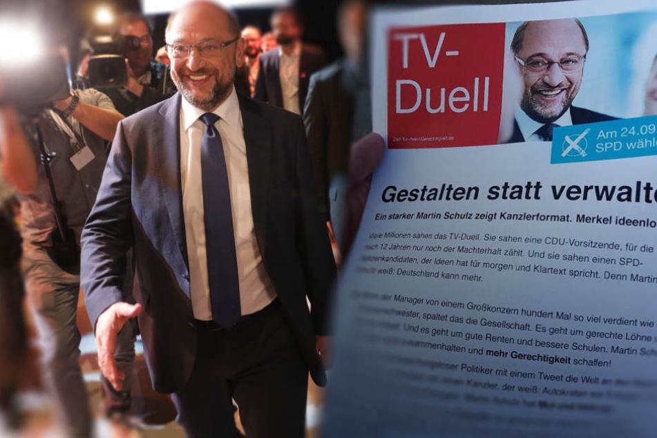 """""""Martin Schulz zeigt Kanzlerformat"""": SPD feiert TV-Duell mit Flyern"""