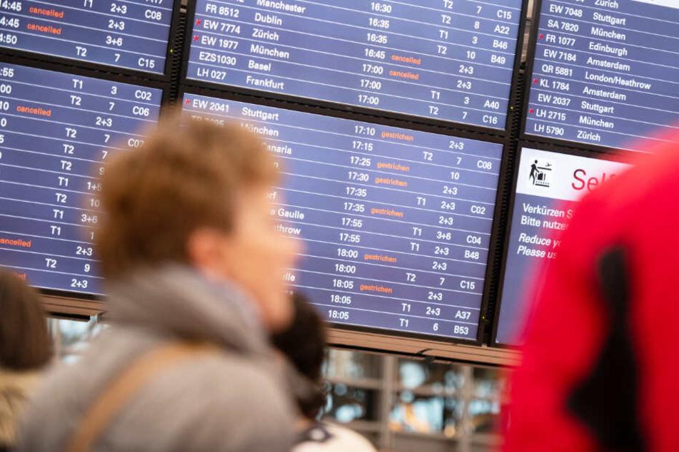 Passagiere informieren sich an der Anzeigetafel des Hamburger Flughafens über ihre Flüge.