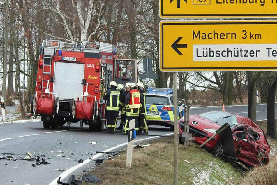 Der Peugeot krachte mit einem Lkw zusammen, die Fahrerin verstarb an der Unfallstelle.