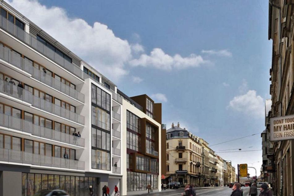 Dieser Gebäuderiegel wird neben dem Café Neustadt wachsen.