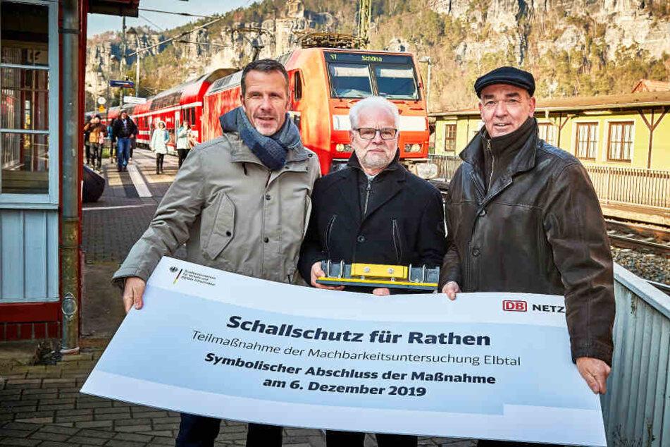 Mehr Ruhe in Rathen: Nach der symbolischen Übergabe des letzten Schienensteg-Dämpfers erhoffen sich die Bewohner der Kurstadt wieder mehr Erholung.